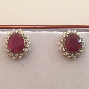 Jewelry - 14K White Gold Natural Ruby Diamond Earrings